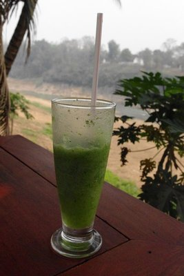 My new favourite drink of lime juice (not Oreo shake) overlooking the Mekong