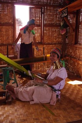 Weaving workshop, with ladies creating traditional patterns from northern state