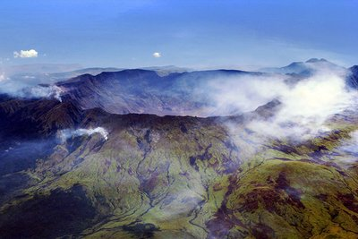 Mount Tambora's caldera...it is a bit big! (PS I didn't take this picture. It is from wiki)