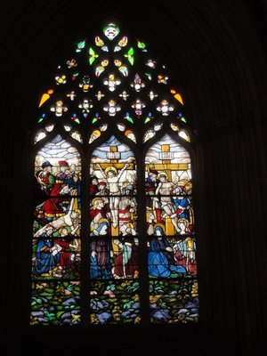 The stained glass window in the Chapterhouse