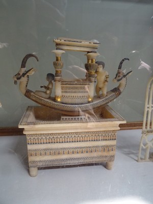 Calcite basin supporting a boat with a shrine from King Tut's tomb