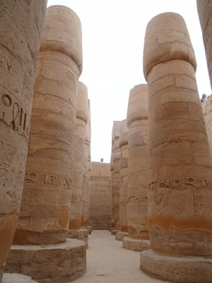 Some of the many huge columns at Karnak