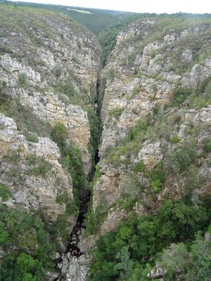 The Storms River gorge from the bridge