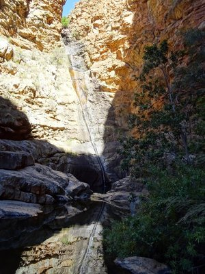 The waterfall reflected in the pool below