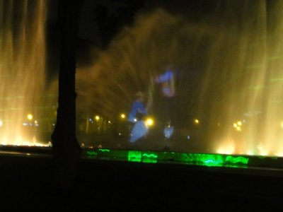 Fountain with projected lights and images