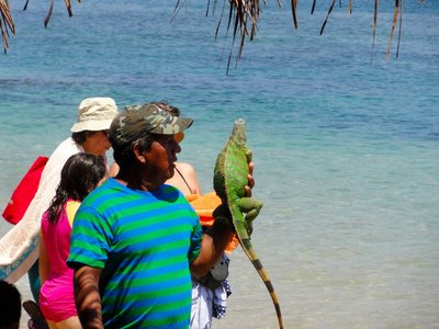Man selling iguana photos on the beach