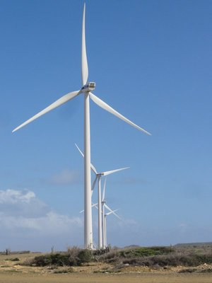 Line up of wind turbines