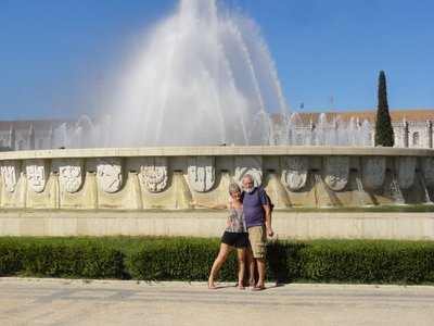 Don and Deb in front of the fountain