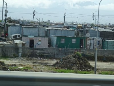 The shack ghetto on the edge of Cape Town, complete with satellite dishes.