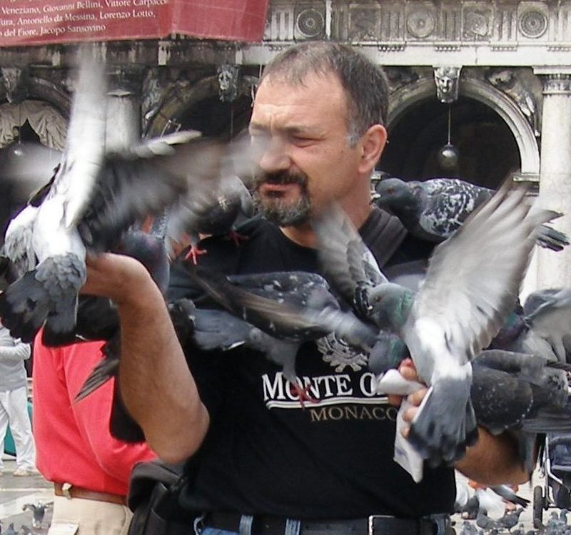 With pigeons @ Venice