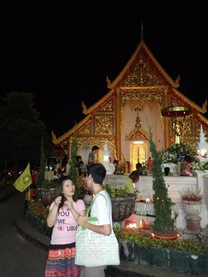 Young Thai people at a temple