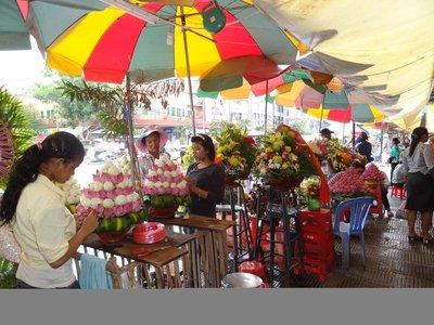 Flower arranging in Central Market, Phnom Penh