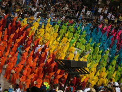 One of the sections of a Samba school performance at the Sambadrome