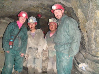 A couple of the miners we passed pushing the metal carts in the mine