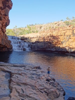 About to go for a dip in the freezing Bell gorge
