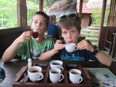 Ethan and Tom tasting coffee