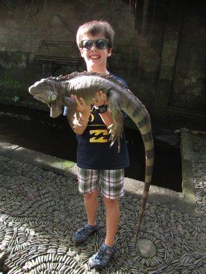 Ethan holding Monitor Lizard
