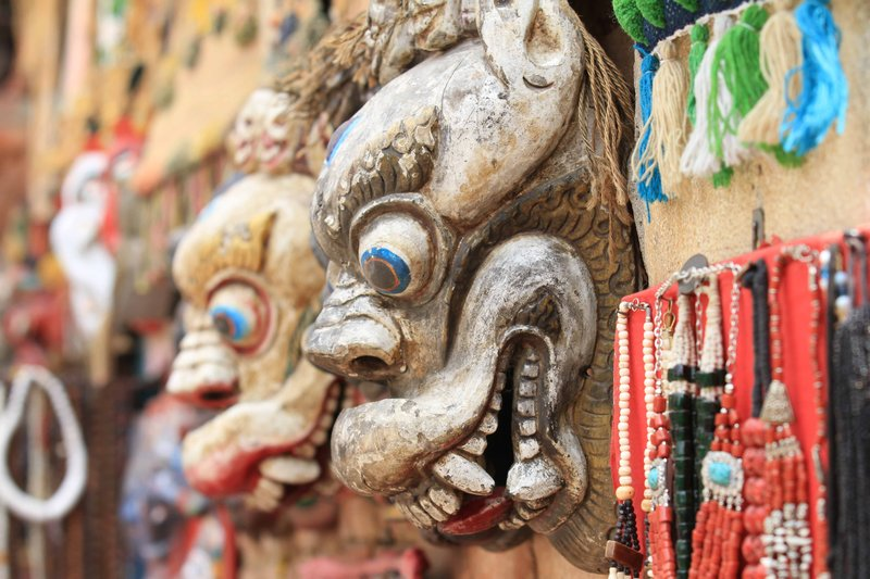 Masks for sale at the Monley Temple