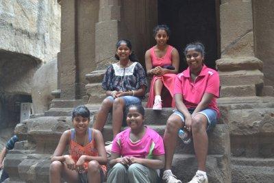 Girls outside Hindu Temple at Ellora Caves