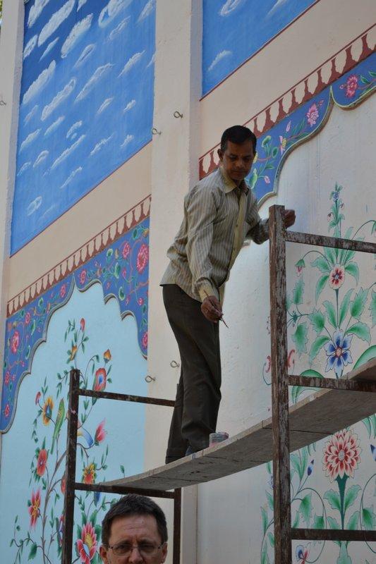 Painting frescoes at Jas Vilas