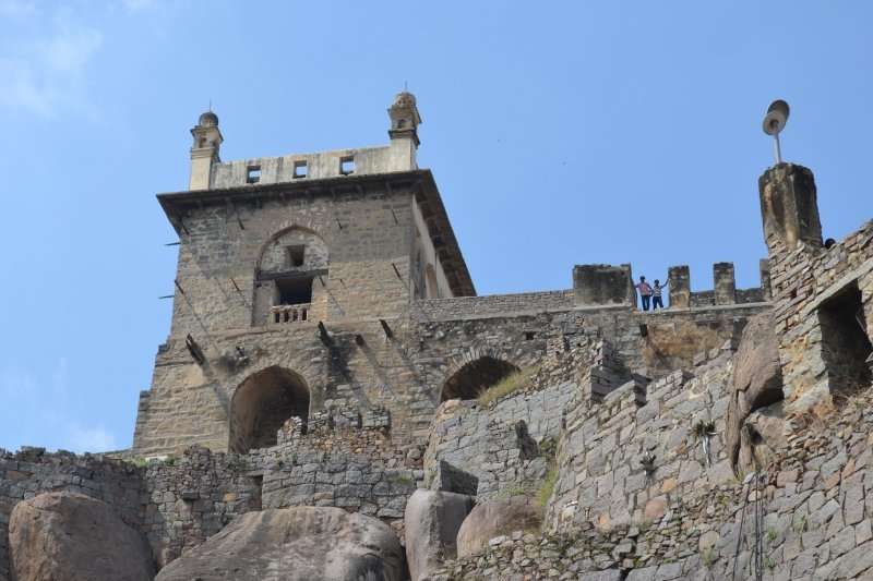 The very top of Golconda Fort in Hyderabad