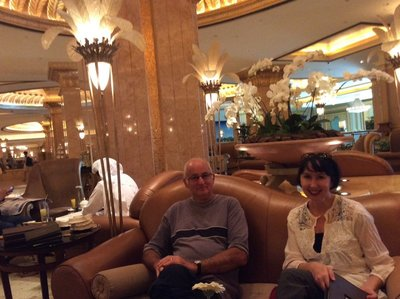 des and Fleur at the Emirate Palace Hotel for coffee