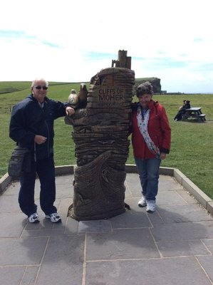 Des and Valda at the Cliffs of Moher in Ireland