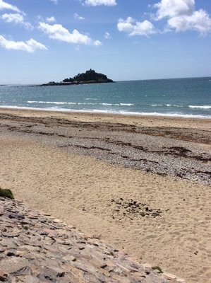 St Michaels Mount out from the beach