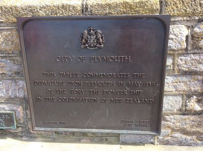 Plaque commemorating the first ship coming to NZ with immigrants in 1839 At the Mayflower Steps in Plymouth, England