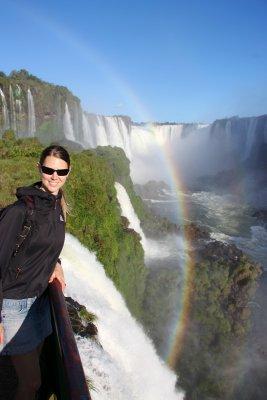 Kerryn on the boardwalk on the Brazil side