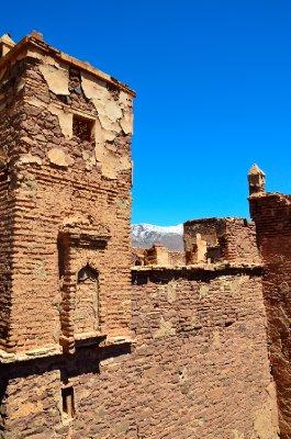 Telouet kasbah with a mountain backdrop