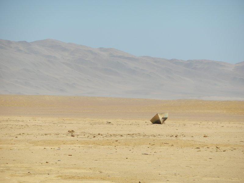Fisherman's boat stranded in the desert