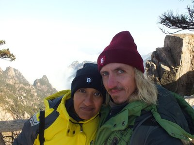Kitted out in our new winter gear on Huangshan, China