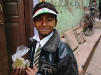 Varanasi_Independence Day - the boy with the peak cap (It says 'I love my India')