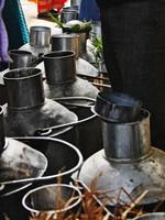 Varanasi_Milk churns in the market