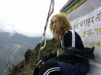 near the Stupa in the cloudy mountains