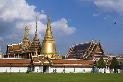 near the entrance to wat phra kaew, the temple of the emerald buddha in bangkok