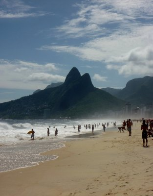 The 'Two Brothers' at the western end of Ipanema beach