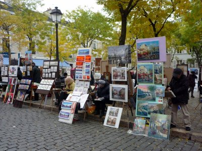 Artists at work in the Montmartre district