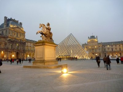 The Louvre courtyard at twilight