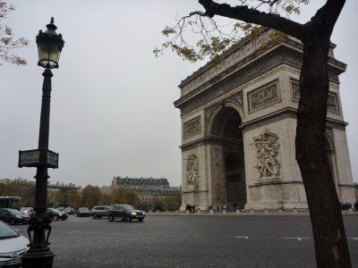 The Arc de Triomphe - great entertainment watching the cars negotiate the traffic here!
