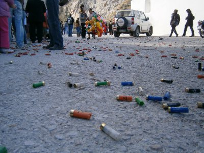 Leftover shells from shooting an effigy of Judas