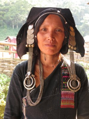 Lady from the Akha hill tribe, wearing traditional/day-to-day clothes