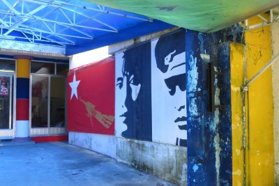 NLD HQ in Yangon, faces of Aung San Suu Kyi and her father General Aung San