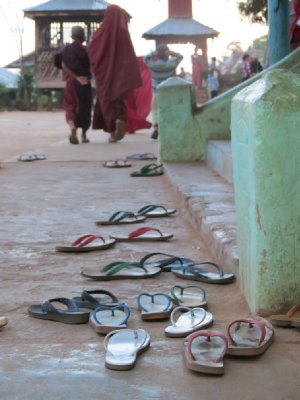 Jandals off for temple time