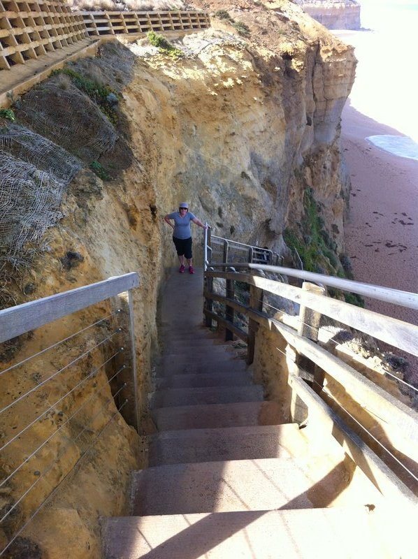 Karen climbing Gibsons Steps