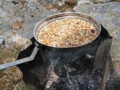 cooking muesli bars on my wood burning stove