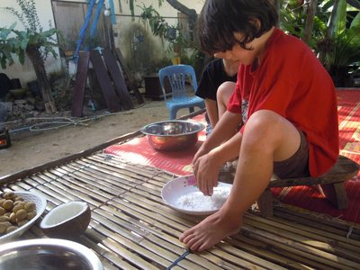 scraping coconut