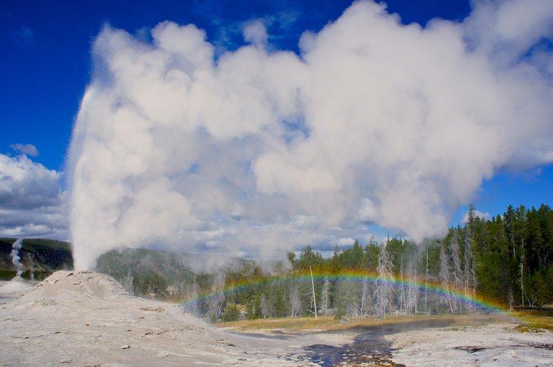 Lion geyser group eruption Yellowstone National Park