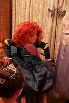 Bella in her Merida costume in Bibbidi Bobbidi Boutique